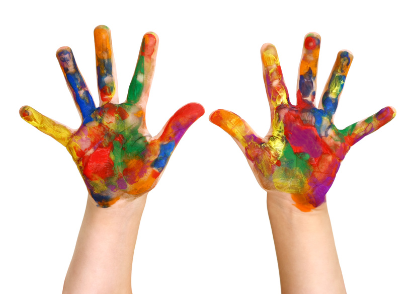 Preschooler Rainbow Painted Hands