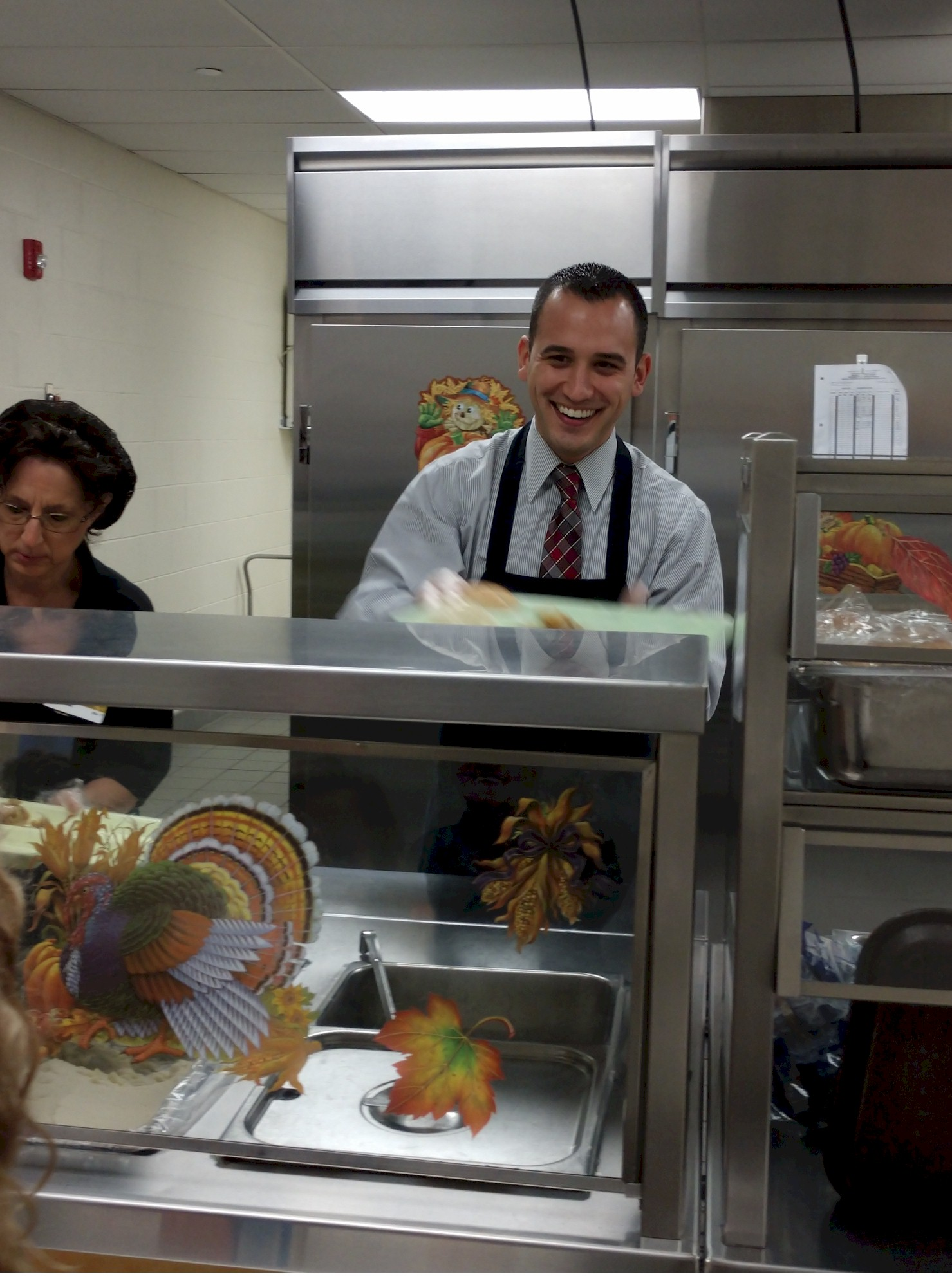 Administrators Serve Thanksgiving Dinner to Students